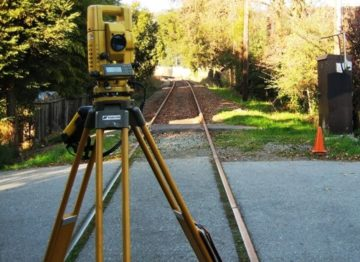 Sonoma-Marin Area Rail Transit - Survey Equipment on Train Tracks