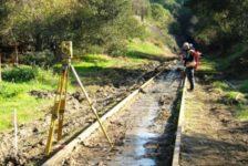 Surveyor on Sonoma-Marin Area Rail Transit Track