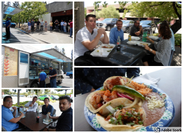 Collage of photos from our annual taco truck lunch