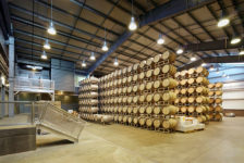Cuvaison Estate Wines Production Facility - Floor to Ceiling Wine Barrels